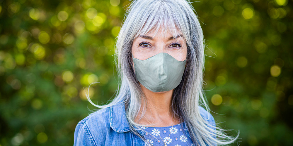woman wearing facemask to protect against COVID-19