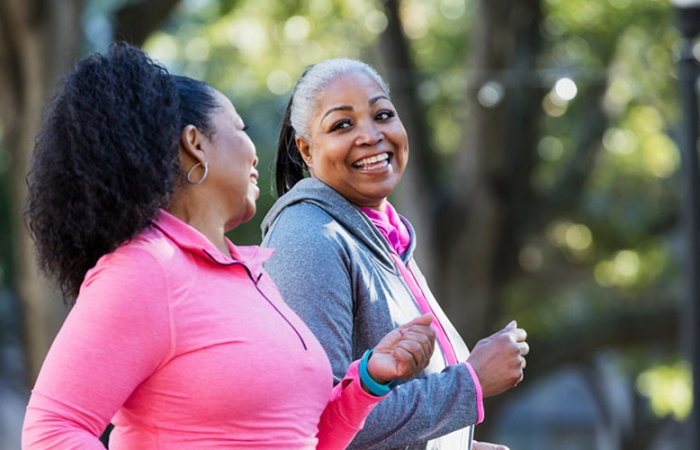 African American active older adults jogging