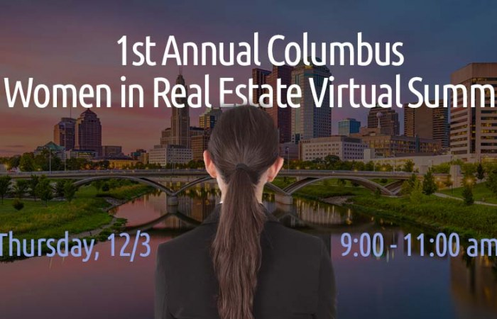 Columbus real estate cityscape with woman in foreground
