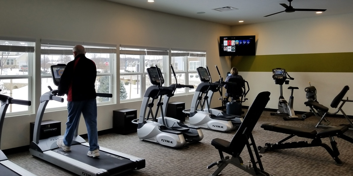 workout room in luxury apartments in dublin ohio