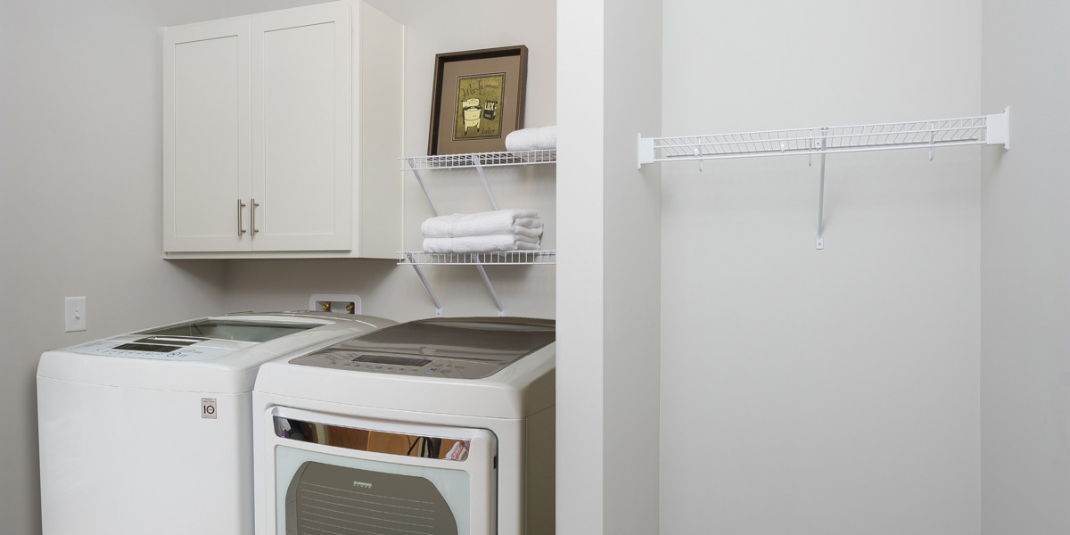 laundry room in luxury apartments for active adults in Delaware Ohio